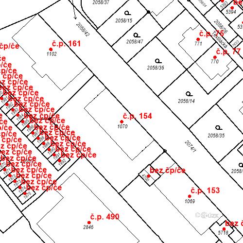 Katastrální mapa Stavební objekt Horní Předměstí 154, Trutnov