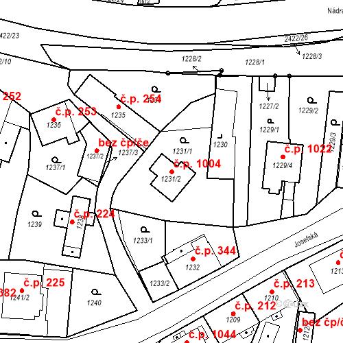 Katastrální mapa Stavební objekt Holice 1004, Holice