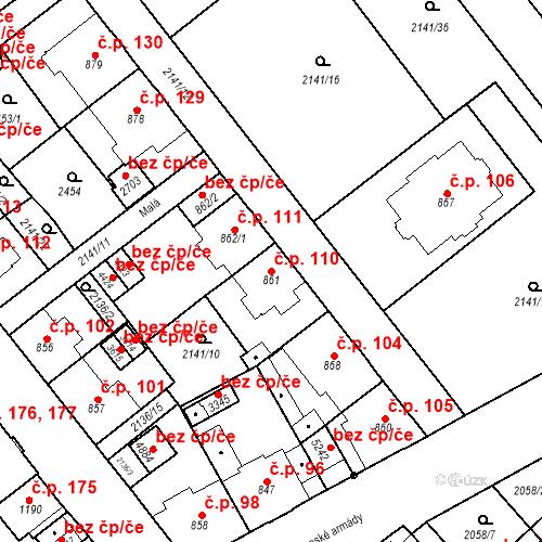 Katastrální mapa Stavební objekt Horní Předměstí 110, Trutnov