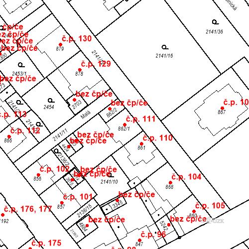 Katastrální mapa Stavební objekt Horní Předměstí 111, Trutnov