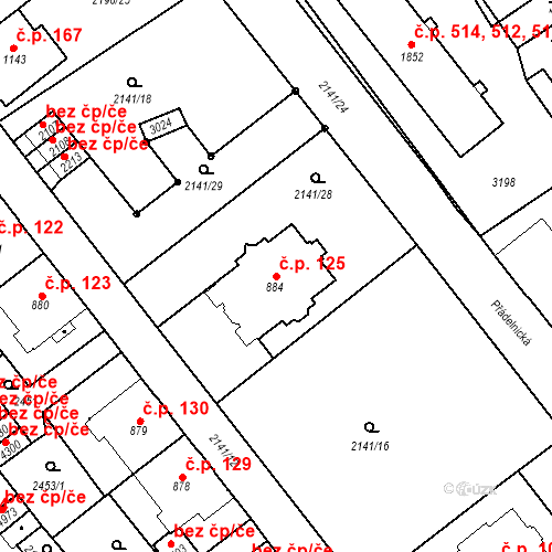 Katastrální mapa Stavební objekt Horní Předměstí 125, Trutnov