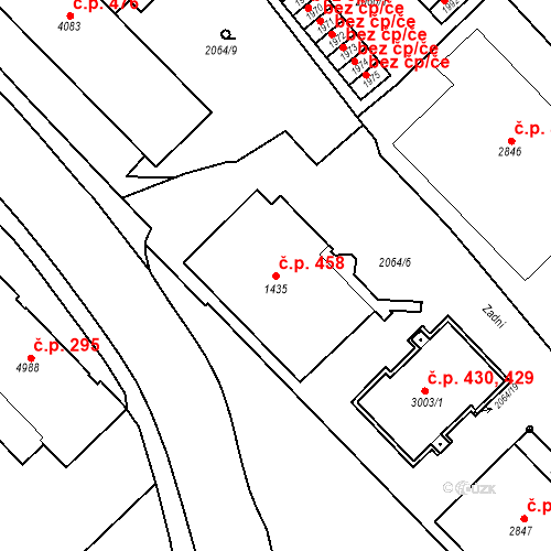 Katastrální mapa Stavební objekt Horní Předměstí 458, Trutnov