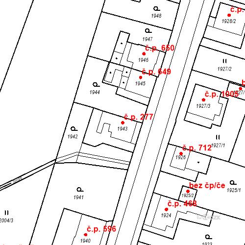Katastrální mapa Stavební objekt Holice 277, Holice