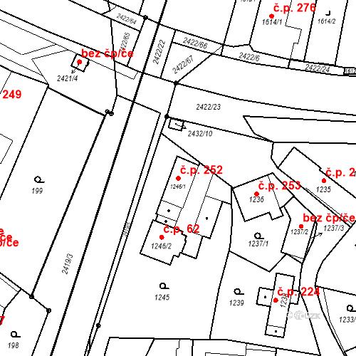 Katastrální mapa Stavební objekt Holice 252, Holice