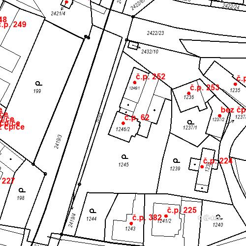 Katastrální mapa Stavební objekt Holice 62, Holice