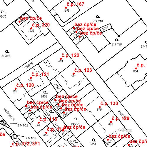 Katastrální mapa Stavební objekt Horní Předměstí 123, Trutnov