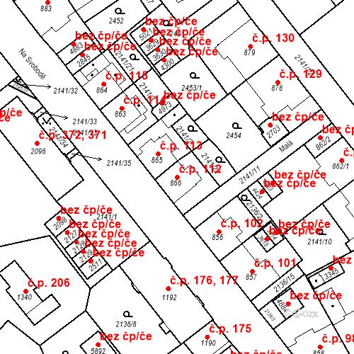 Katastrální mapa Stavební objekt Horní Předměstí 112, Trutnov