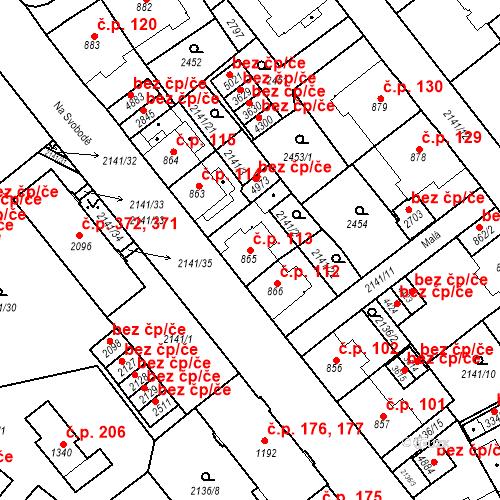Katastrální mapa Stavební objekt Horní Předměstí 113, Trutnov