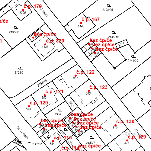 Katastrální mapa Stavební objekt Horní Předměstí 122, Trutnov