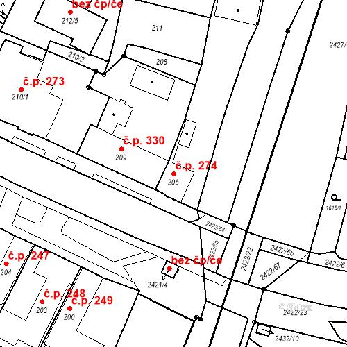 Katastrální mapa Stavební objekt Holice 274, Holice
