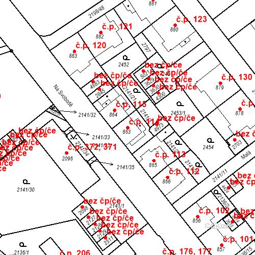 Katastrální mapa Stavební objekt Horní Předměstí 114, Trutnov