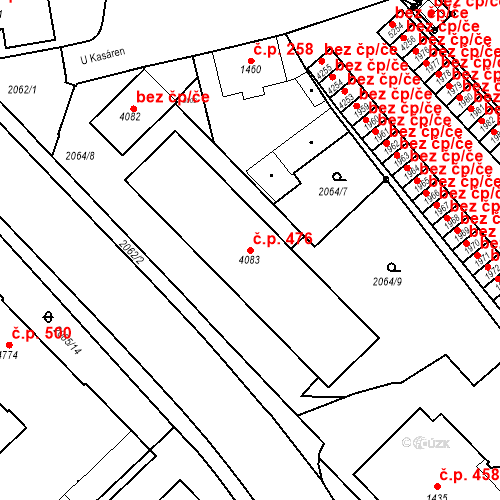 Katastrální mapa Stavební objekt Horní Předměstí 476, Trutnov