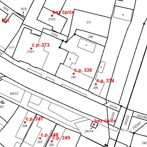 Katastrální mapa Stavební objekt Holice 330, Holice