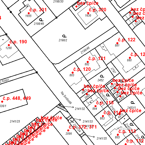 Katastrální mapa Stavební objekt Horní Předměstí 120, Trutnov