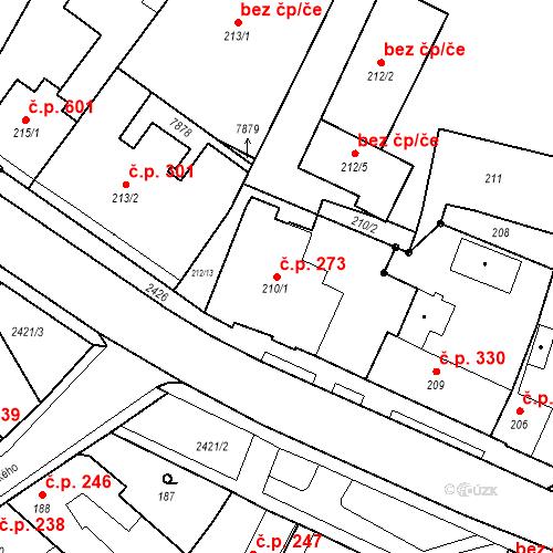 Katastrální mapa Stavební objekt Holice 273, Holice
