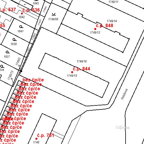 Katastrální mapa Stavební objekt Holice 844, Holice