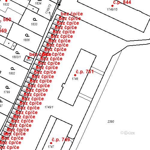 Katastrální mapa Stavební objekt Holice 761, Holice