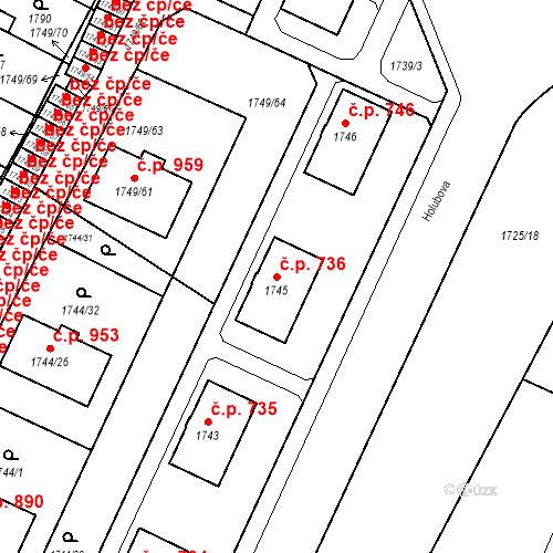 Katastrální mapa Stavební objekt Holice 736, Holice
