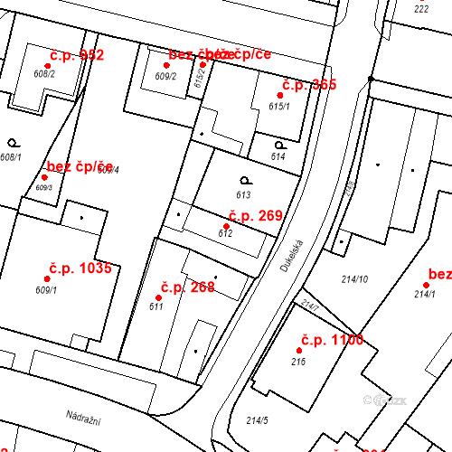 Katastrální mapa Stavební objekt Holice 269, Holice
