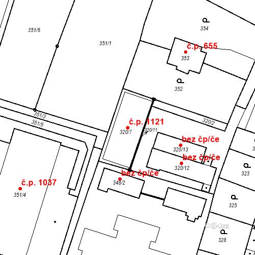 Katastrální mapa Stavební objekt Holice 1121, Holice