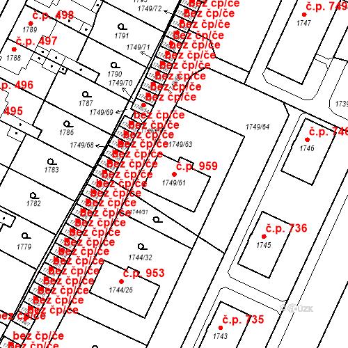 Katastrální mapa Stavební objekt Holice 959, Holice