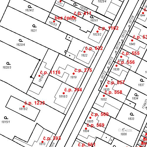 Katastrální mapa Stavební objekt Holice 275, Holice