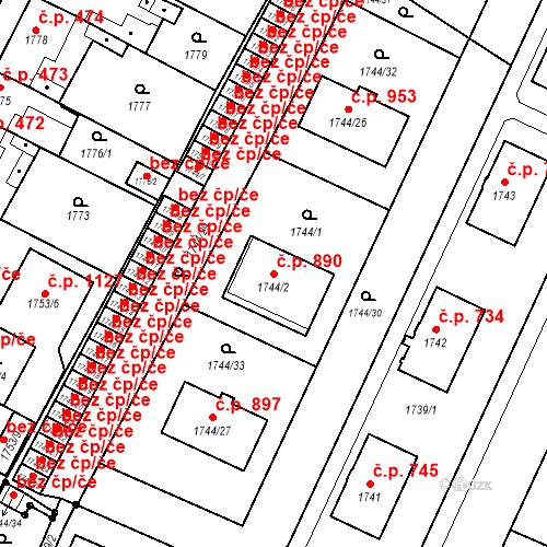 Katastrální mapa Stavební objekt Holice 890, Holice