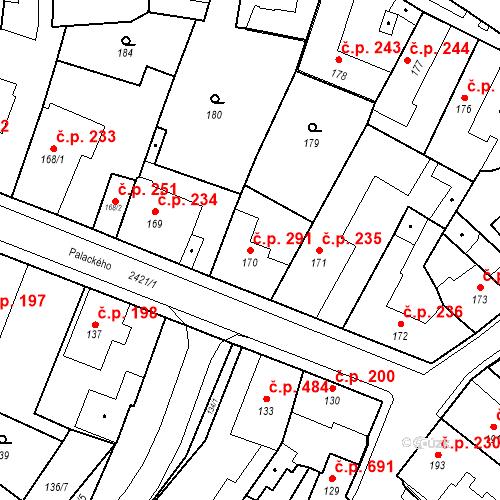 Katastrální mapa Stavební objekt Holice 291, Holice