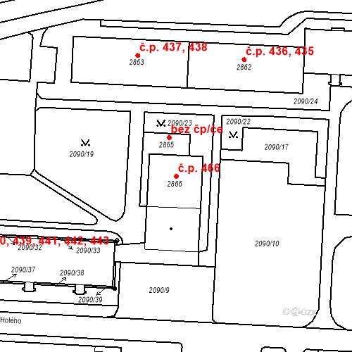 Katastrální mapa Stavební objekt Horní Předměstí 466, Trutnov