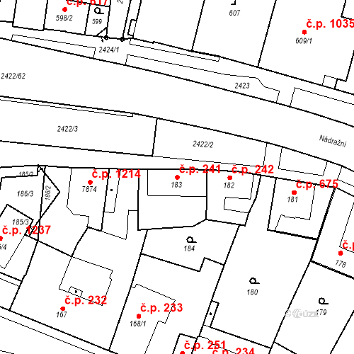 Katastrální mapa Stavební objekt Holice 241, Holice