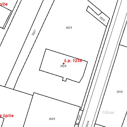 Katastrální mapa Stavební objekt Holice 1234, Holice