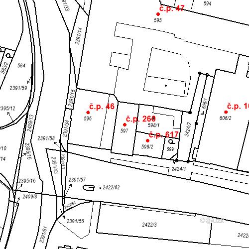 Katastrální mapa Stavební objekt Holice 260, Holice