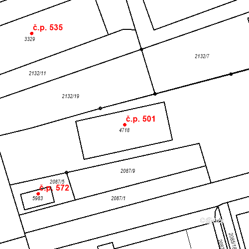 Katastrální mapa Stavební objekt Horní Předměstí 501, Trutnov