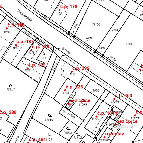 Katastrální mapa Stavební objekt Holice 289, Holice
