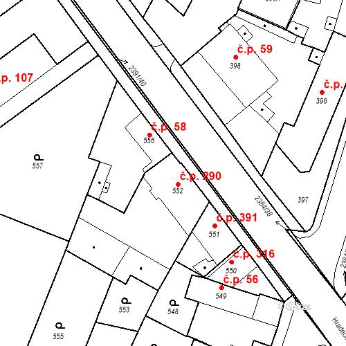 Katastrální mapa Stavební objekt Holice 290, Holice