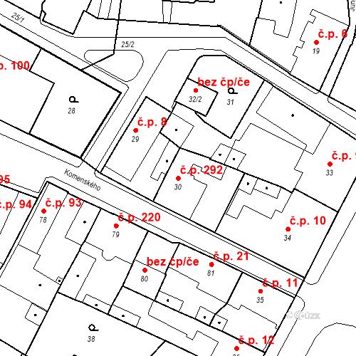 Katastrální mapa Stavební objekt Holice 292, Holice