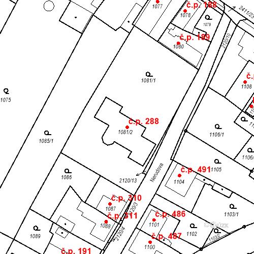 Katastrální mapa Stavební objekt Holice 288, Holice