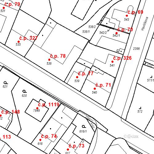 Katastrální mapa Stavební objekt Holice 77, Holice