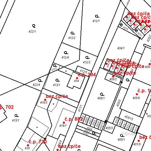 Katastrální mapa Stavební objekt Holice 294, Holice