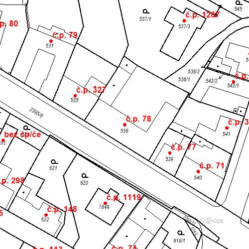 Katastrální mapa Stavební objekt Holice 78, Holice