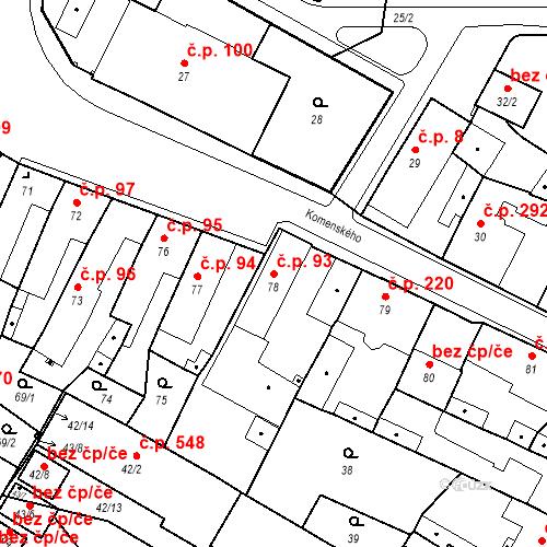 Katastrální mapa Stavební objekt Holice 93, Holice
