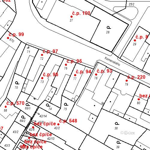 Katastrální mapa Stavební objekt Holice 94, Holice