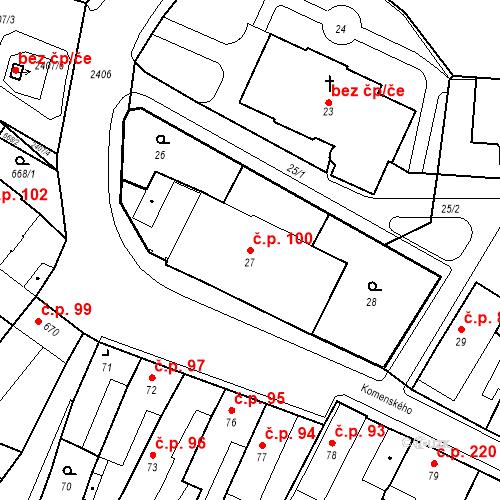 Katastrální mapa Stavební objekt Holice 100, Holice