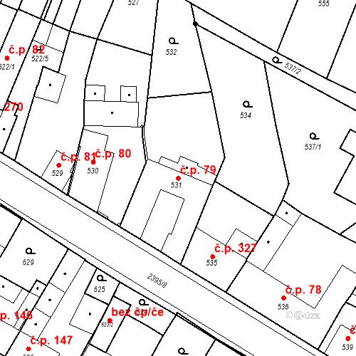 Katastrální mapa Stavební objekt Holice 79, Holice