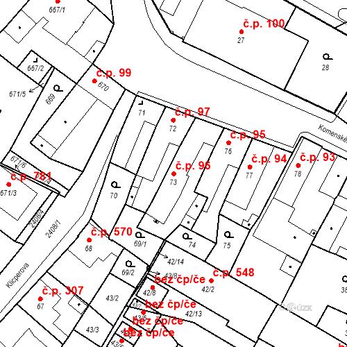 Katastrální mapa Stavební objekt Holice 96, Holice