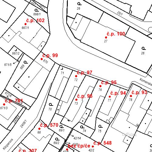 Katastrální mapa Stavební objekt Holice 97, Holice
