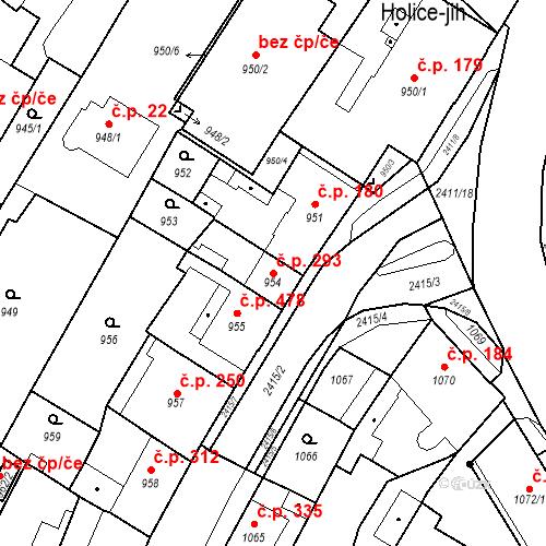 Katastrální mapa Stavební objekt Holice 293, Holice