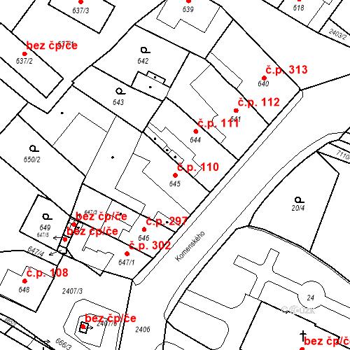 Katastrální mapa Stavební objekt Holice 110, Holice