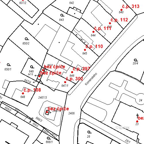 Katastrální mapa Stavební objekt Holice 297, Holice