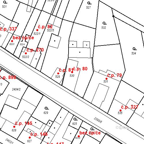 Katastrální mapa Stavební objekt Holice 80, Holice